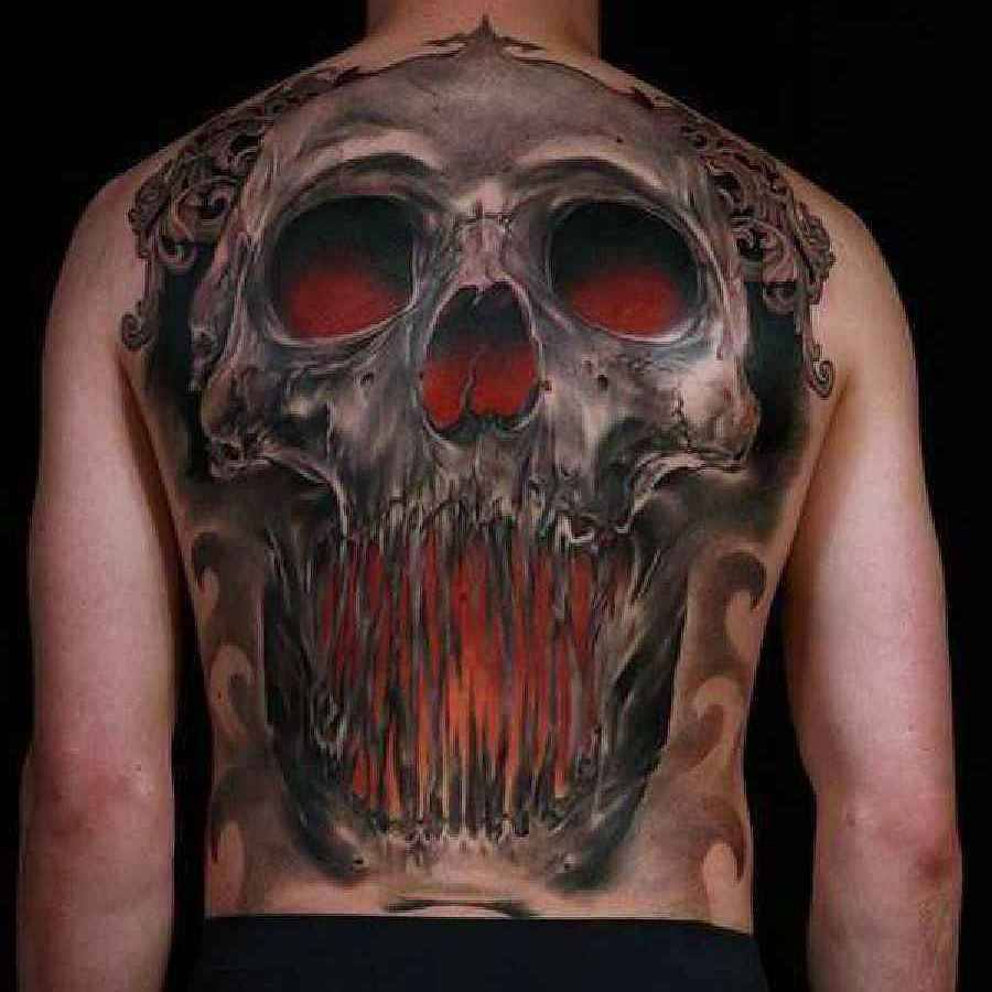 awesome skull tattoo on full back by niki norberg. Black Bedroom Furniture Sets. Home Design Ideas