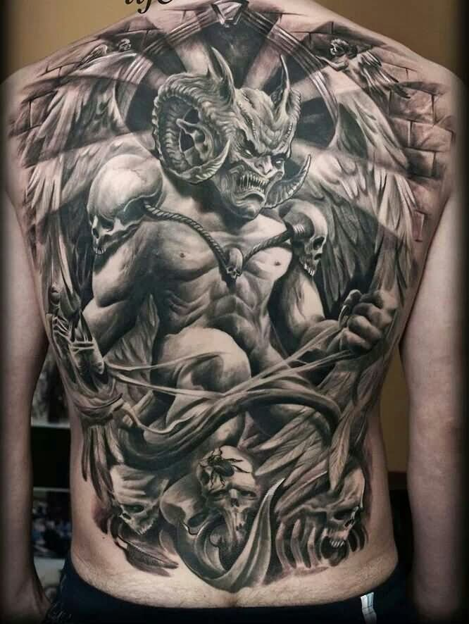 Black And Grey 3d Demon Tattoo On Full Back