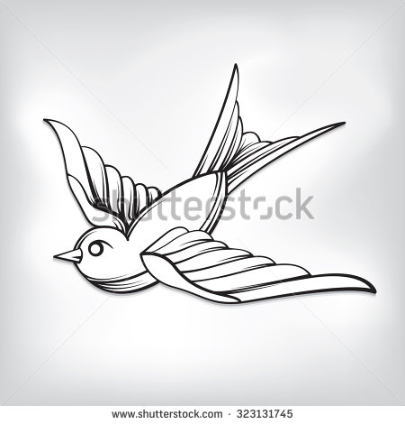 traditional sparrow tattoo outline images galleries with a bite. Black Bedroom Furniture Sets. Home Design Ideas