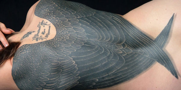 27 famous wings back tattoos for Eagle wings tattoo