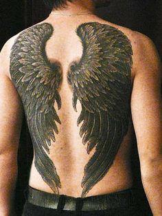 0cd932d3e Black Ink Wings Tattoo On Full Back