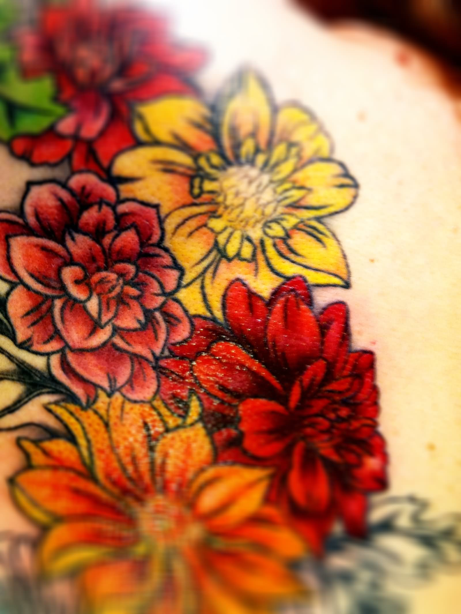 11 dahlia flowers tattoo designs