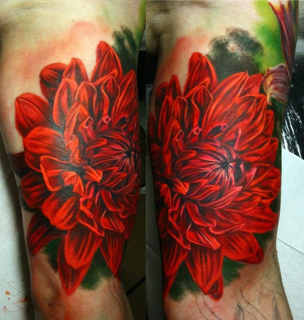 45 beautiful dahlia tattoos for Tattoo style flowers