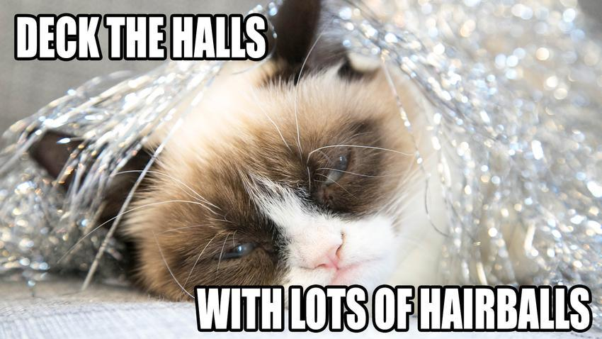 Deck The Halls With Lots Of Hairballs Funny Grumpy Cat Meme Image