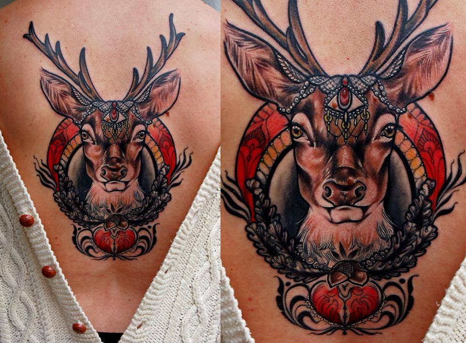 traditional deer head tattoo wwwimgkidcom the image
