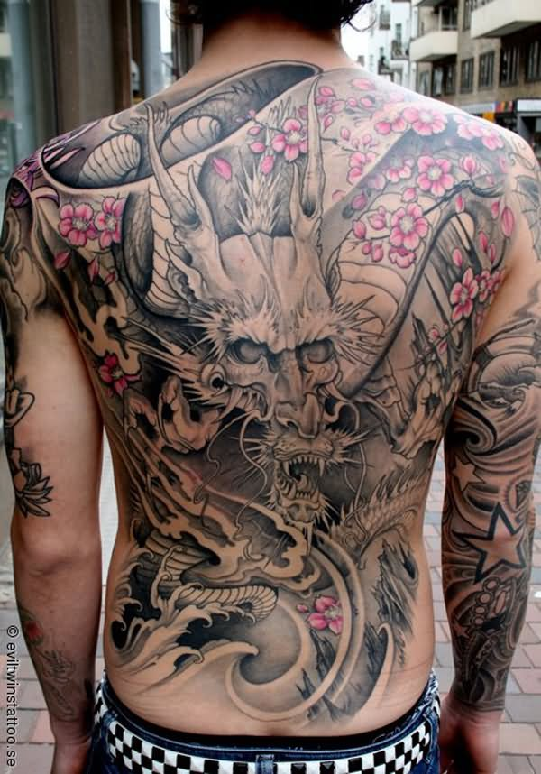 Dragon With Cherry Blossom Tattoo On Full Back