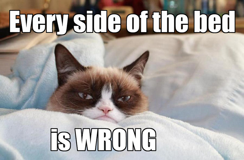 Every Side Of The Bed Is Wrong Funny Grumpy Cat Meme Picture