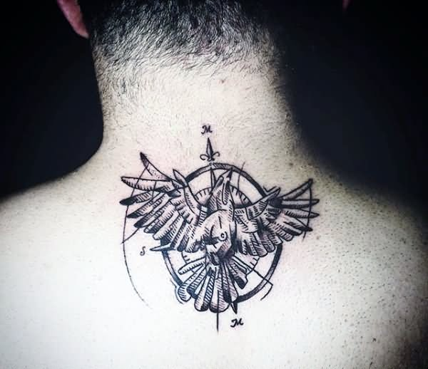 Flying Bird With Compass Tattoo On Man Back Neck