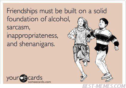 Friendships Must Be Built On A Solid Foundation Of Alcohol Funny Best  Friends Meme Picture