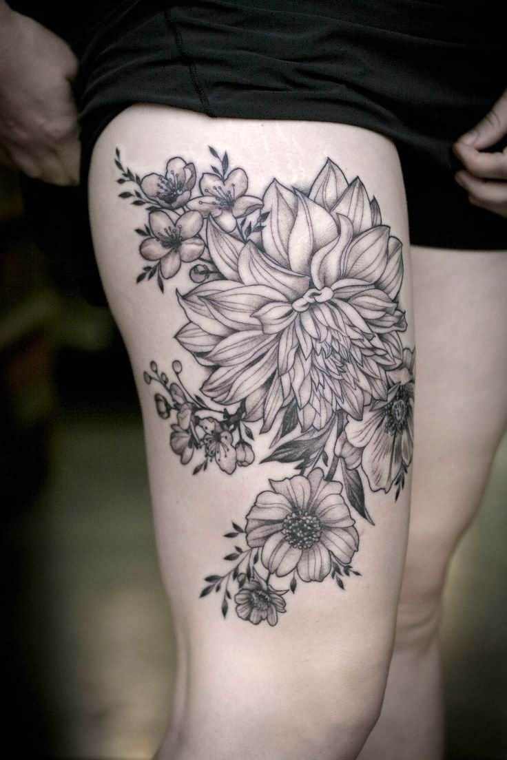 Flower Leg Tattoos: 45+ Beautiful Dahlia Tattoos