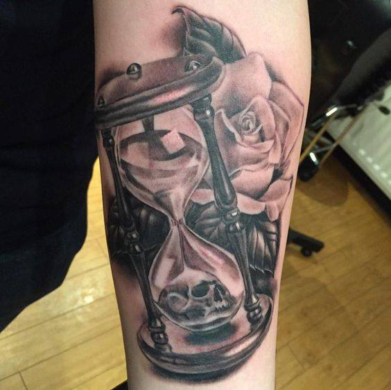 Roses Hour Glasses Tattoo: 4+ Grey Ink Hourglass Tattoos
