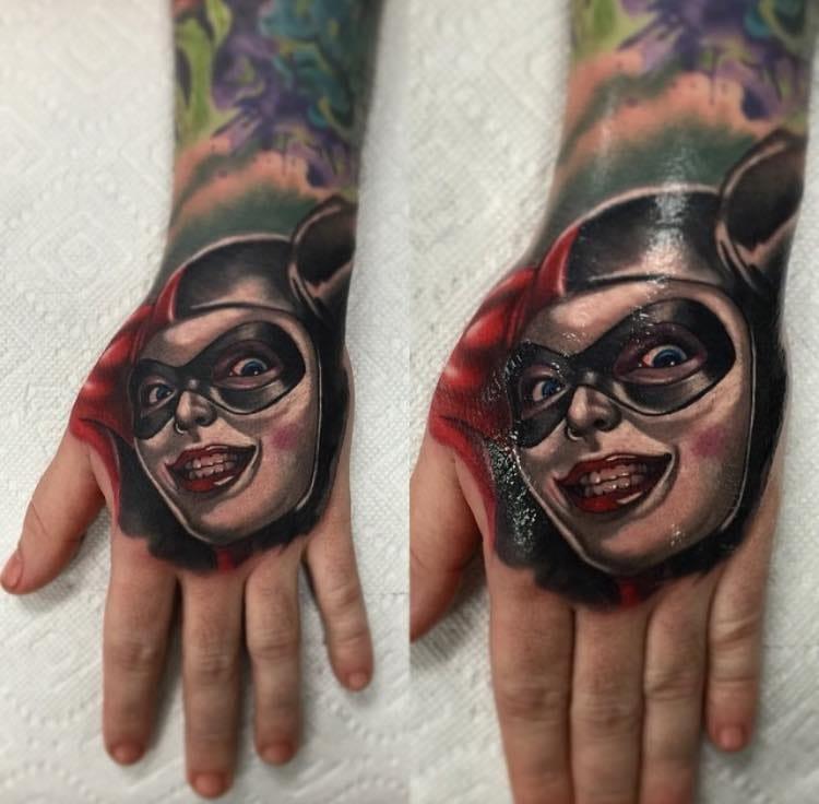 Harley Quinn Tattoo On Left Hand By Audie Fulfer Jr