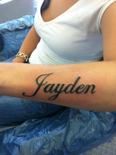 bb25049c1 Jayden Name Tattoo On Girl Left Forearm By Keith Elbourn
