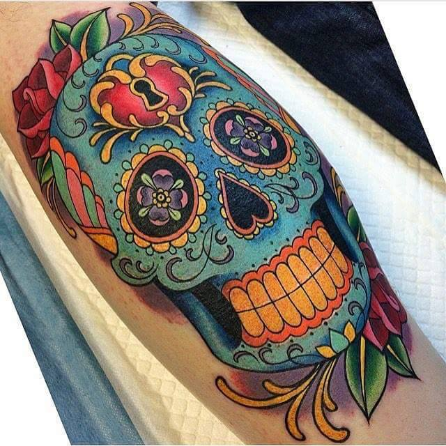 Sugar skull tattoos for Color skull tattoos