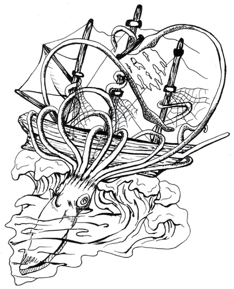 giant squid coloring pages - photo#22