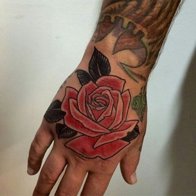 Red Rose Tattoo On Right Hand By Max May Tattoo