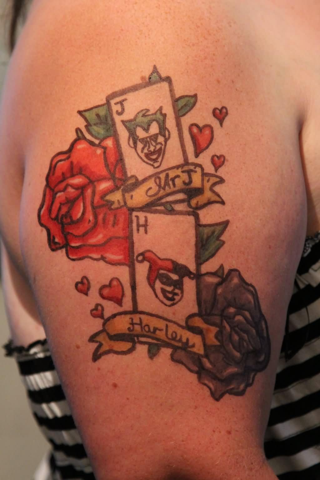 joker and harley quinn kissing tattoo on shoulder. Black Bedroom Furniture Sets. Home Design Ideas
