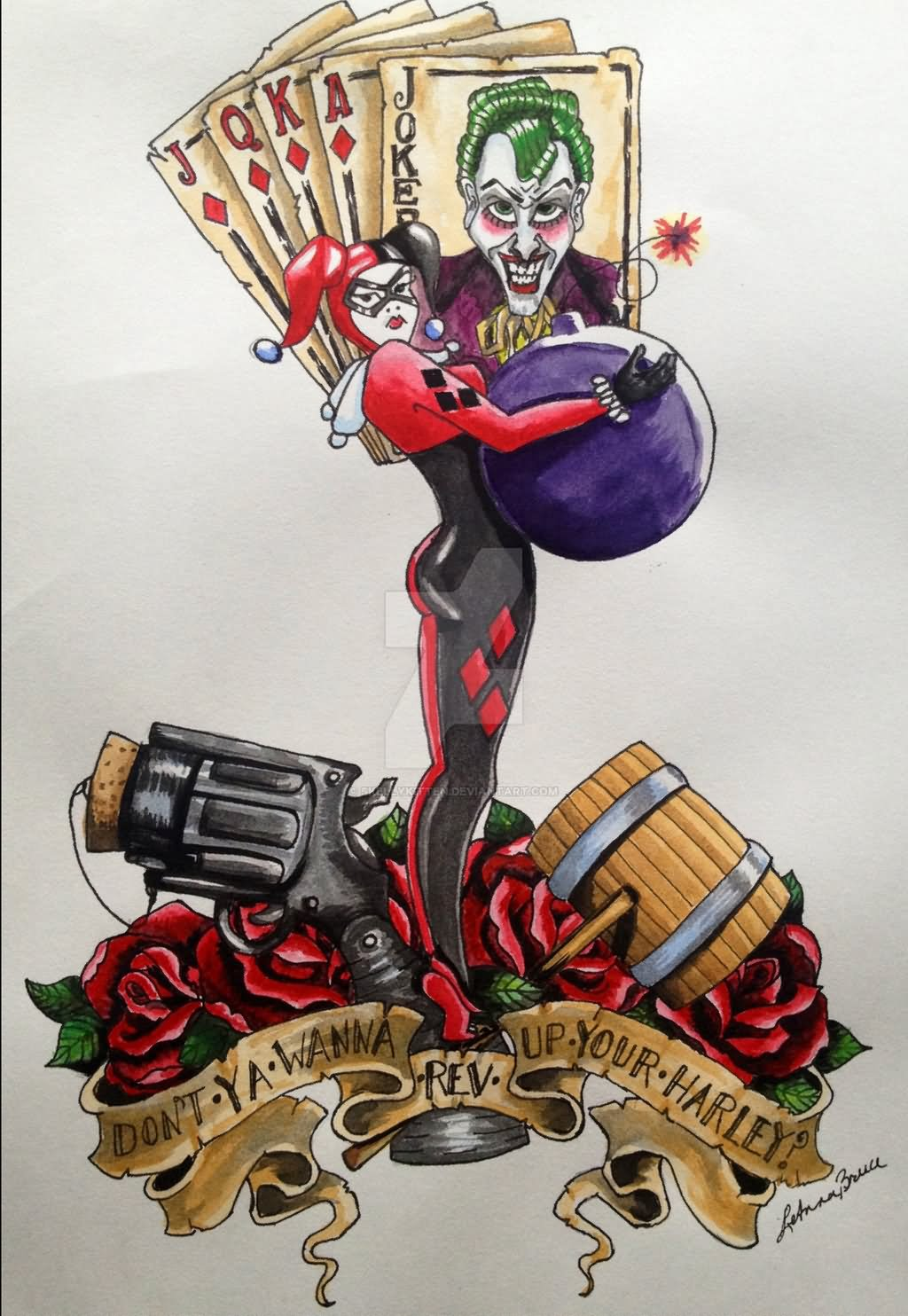 f70c2d152 Traditional Harley Quinn Tattoo Design by Skellykitten