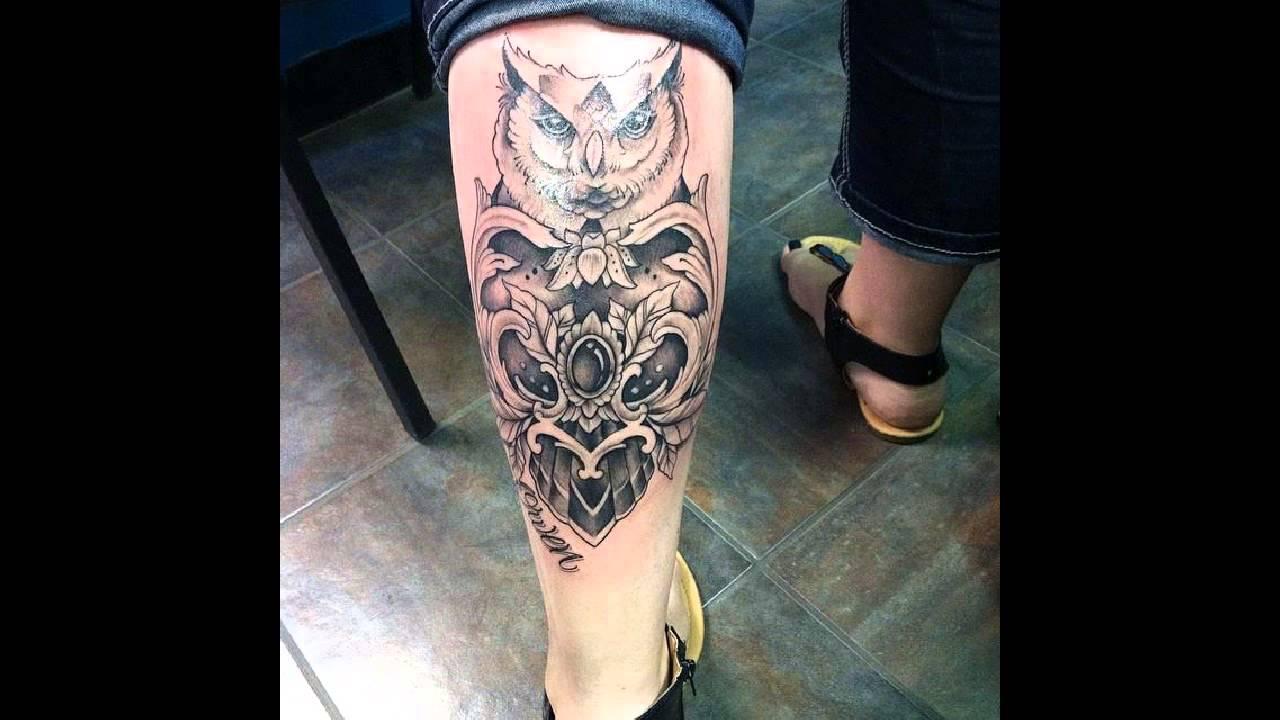 Lower leg guys traditional sleeve tattoos - Unique Owl Tattoo On Girl Leg Calf
