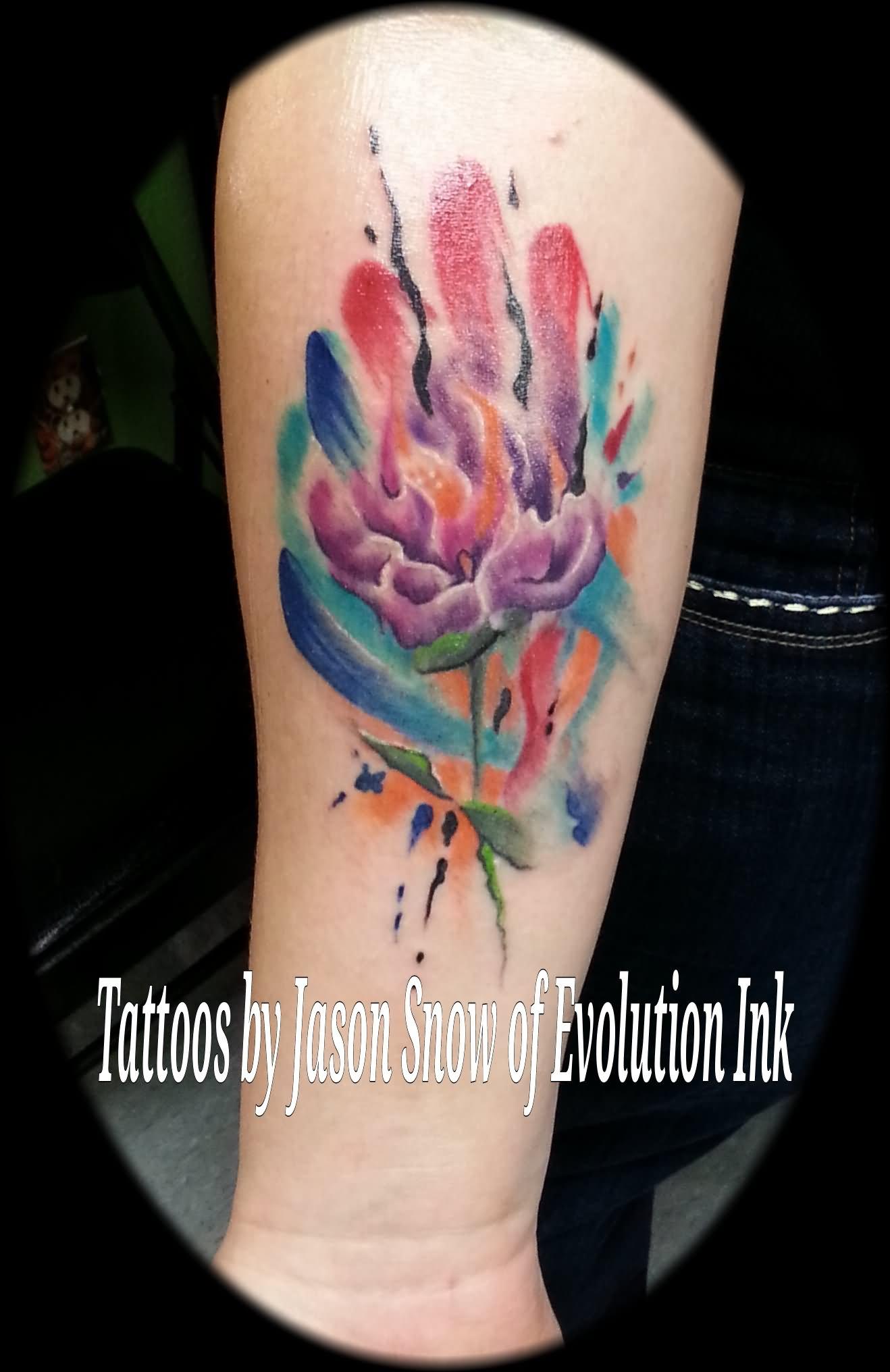 14 Watercolor Dahlia Tattoos