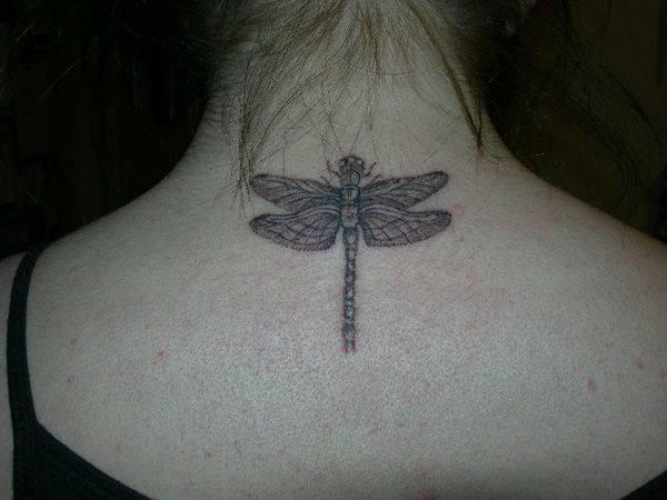 b3c6c9668 Amazing Grey Ink Dragonfly Tattoo On Upper Back