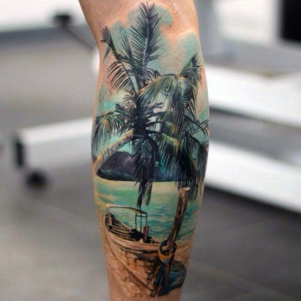 100 Palm Tree Tattoos For Men: Awesome Colored Palm Tree Tattoo On Calf
