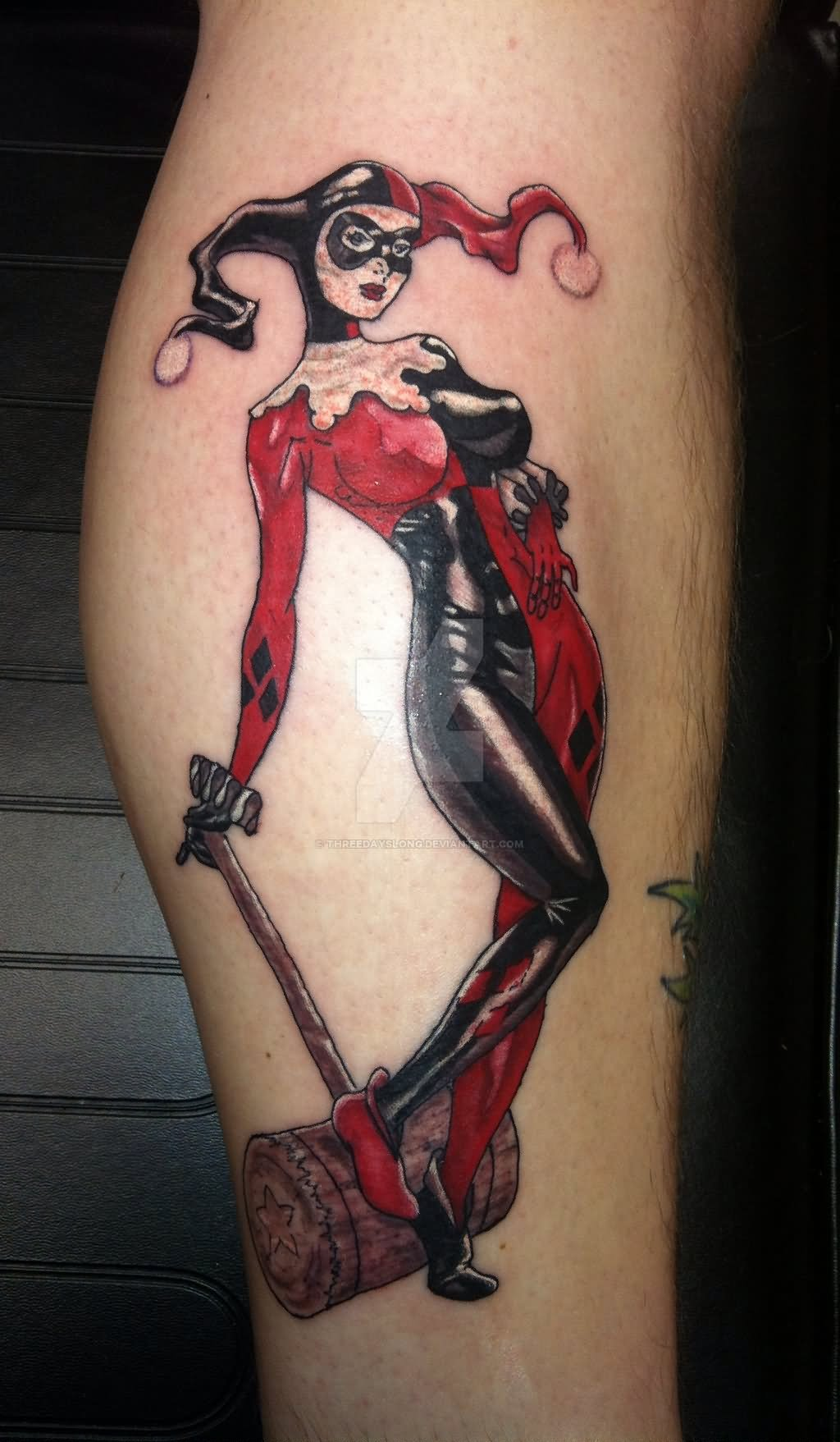 Black ink tattoos for girls - Awesome Harley Quinn Tattoo On Arm Sleeve By Threedayslong