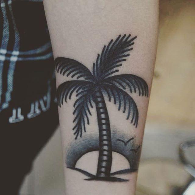 10 palm tree tattoos on forearm. Black Bedroom Furniture Sets. Home Design Ideas