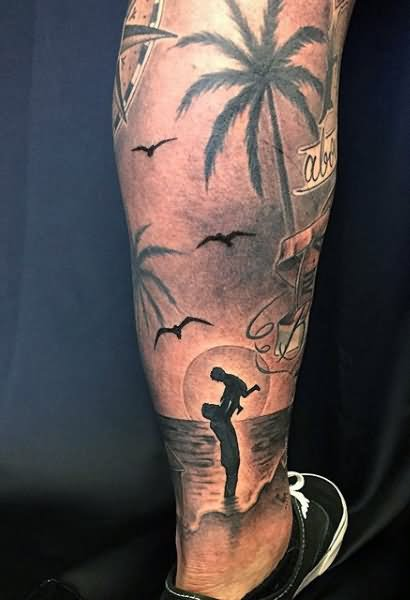 12+ Palm Tree Leg Tattoos