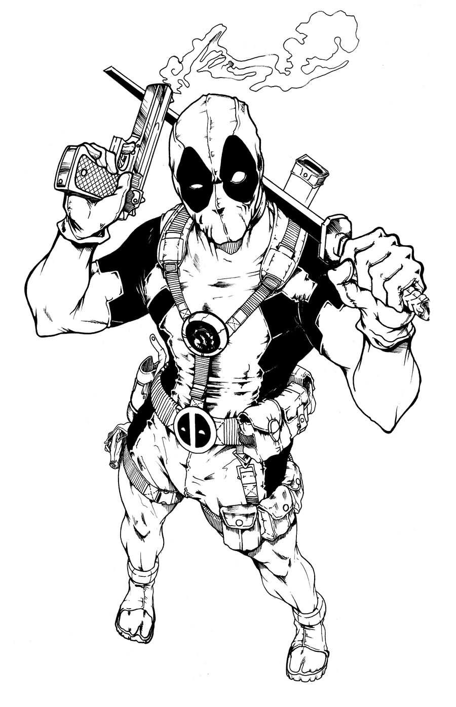 black deadpool with gun and sword tattoo stencil by adam bryce thomas