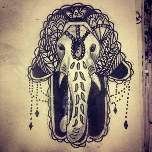 16 awesome hamsa tattoo designs for Hamsa elephant tattoo