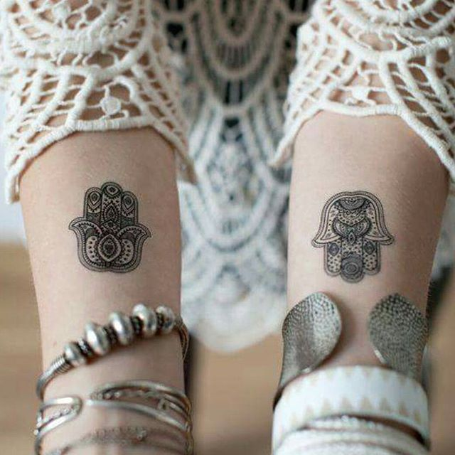 Black Ink Hamsa Tattoo On Both Wrist