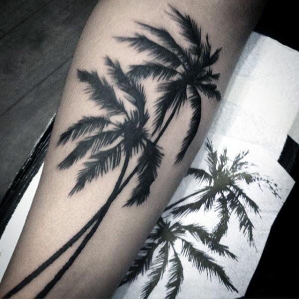 palm tree tattoo black and white - photo #3