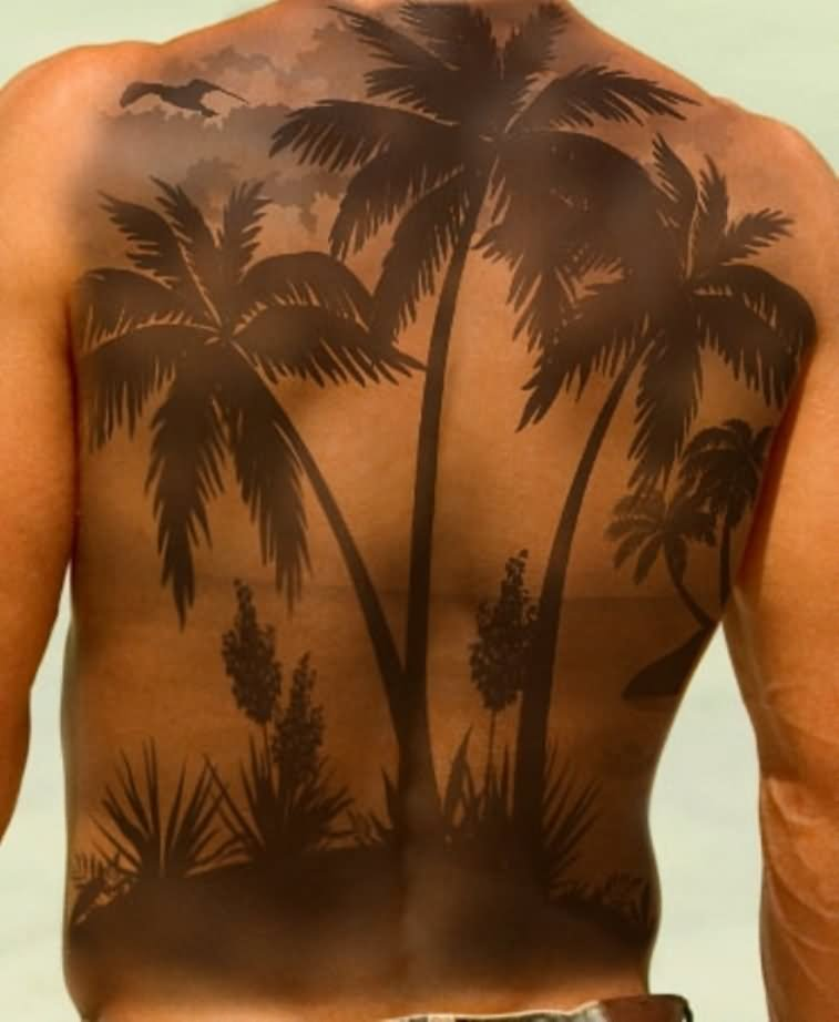 Black and grey palm tree with wave tattoos on left back for Tree back tattoo