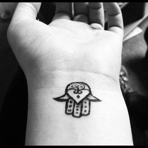 Black Outline Hamsa Tattoo On Right Wrist