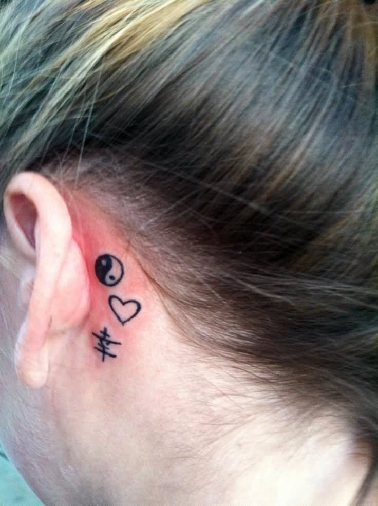 20 behind the ear tattoos for girls for Heart tattoo behind ear