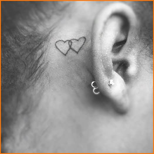 50 awesome behind the ear tattoos for Black heart outline tattoo meaning
