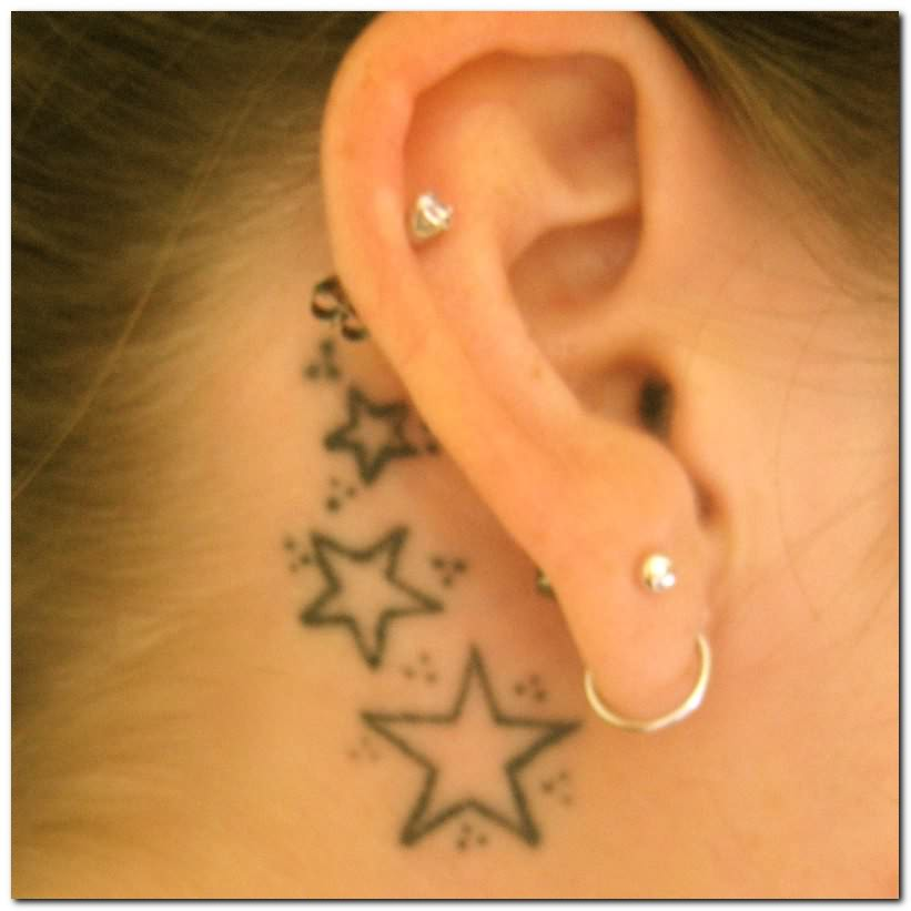 50 awesome behind the ear tattoos. Black Bedroom Furniture Sets. Home Design Ideas