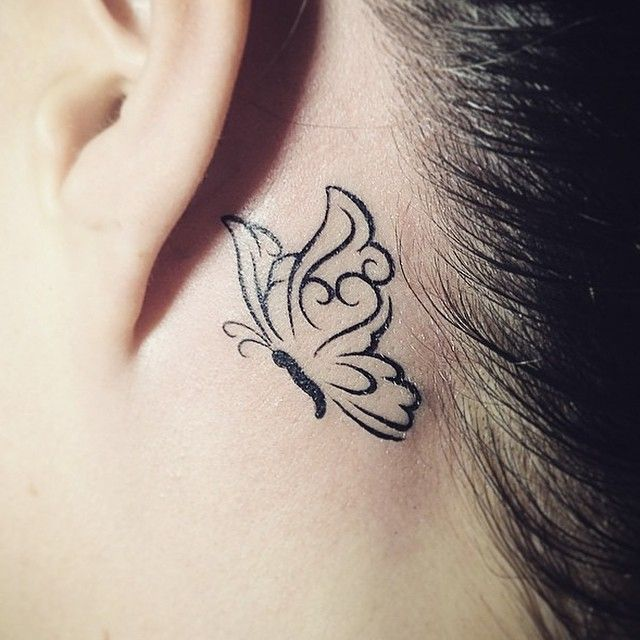 Butterfly Neck Tattoo: 20+ Behind The Ear Tattoos For Girls