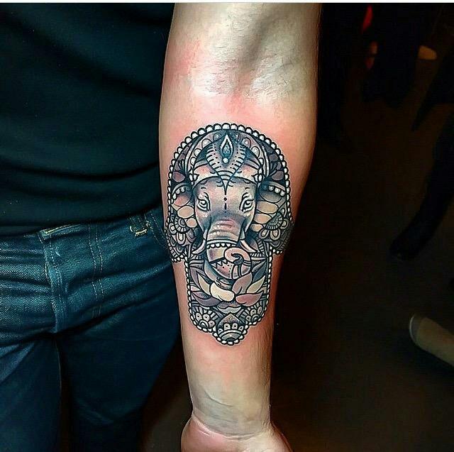 39 beautiful hamsa tattoos for Hamsa elephant tattoo