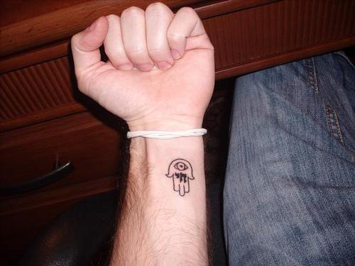 Clic Black Outline Hamsa Tattoo On Left Wrist By Michael Cohn