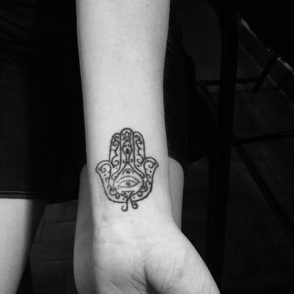 Classic Hamsa Tattoo On Wrist
