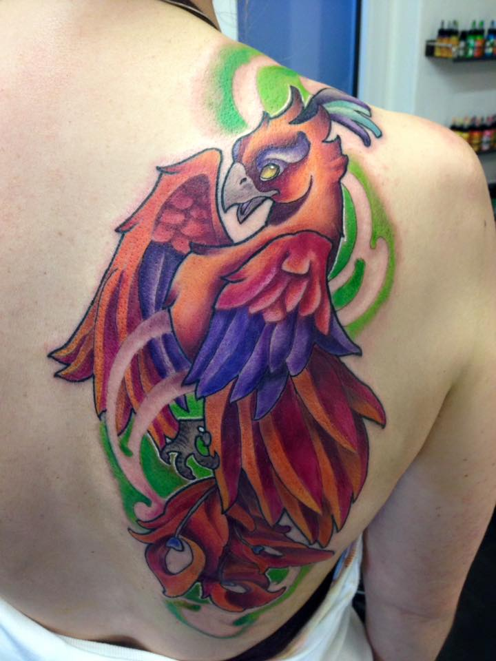 Colorful 3d Flying Phoenix Tattoo Design By Darkmagician1211