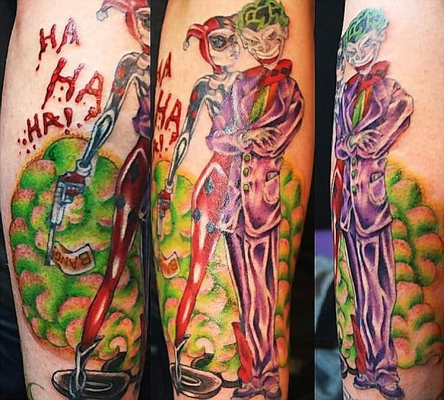 Colorful Joker And Harley Quinn Tattoo On Sleeve