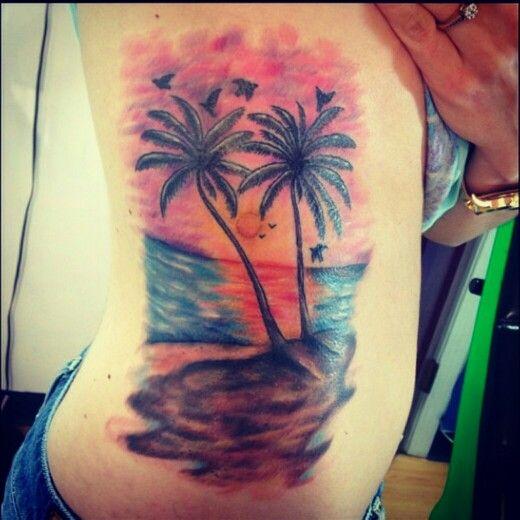 Tree Side Tattoo: 30+ Sunset View Palm Tree Tattoos