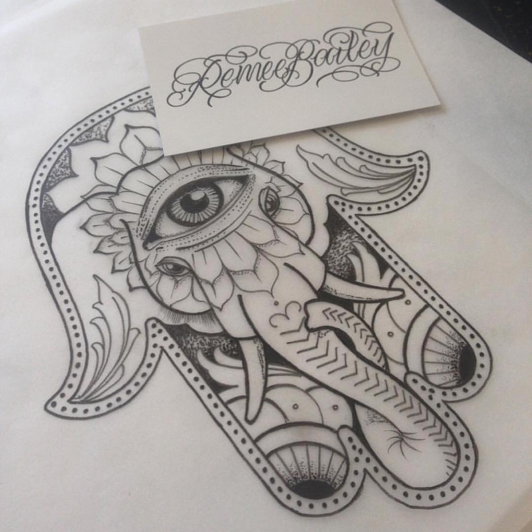 Tattoo Design Maker 1080 1080: Cool-Dotwork-Elephant-Hamsa-Tattoo-Design.jpg 1,080×1,080