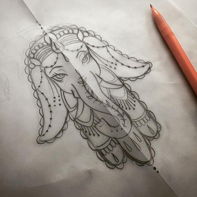 23 classic hamsa elephant tattoos. Black Bedroom Furniture Sets. Home Design Ideas