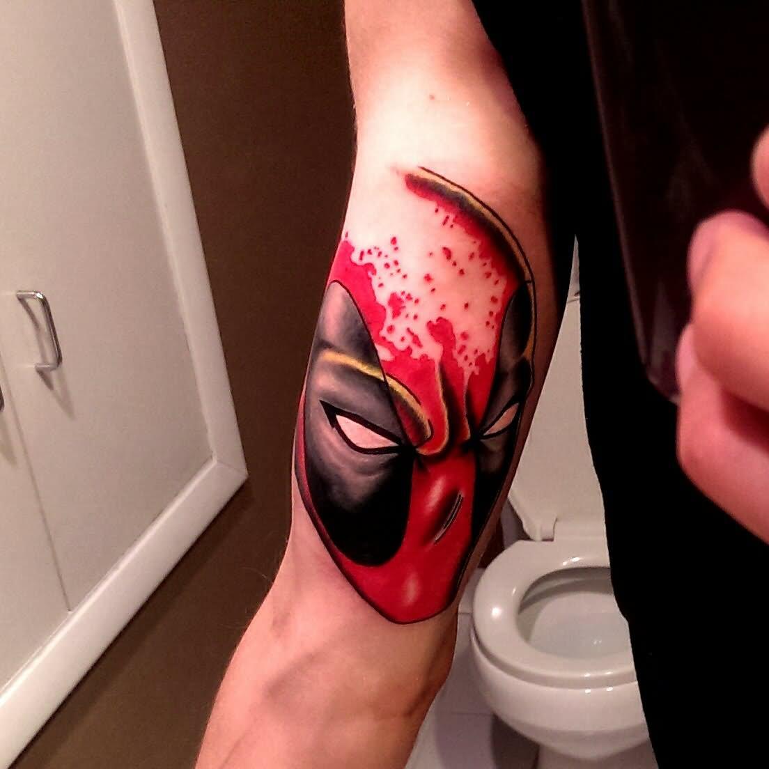 24 deadpool tattoos on sleeve for Marvel sleeve tattoo black and white