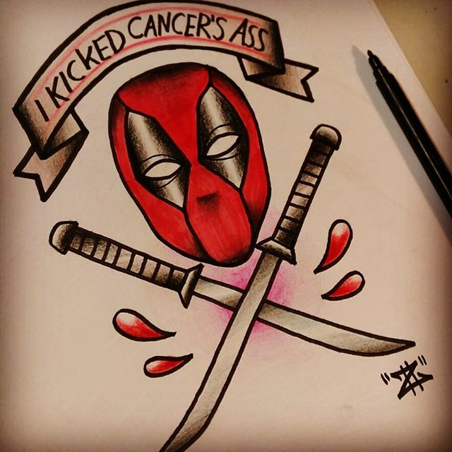 Deadpool Head With Two Crossing Swords And Banner Tattoo