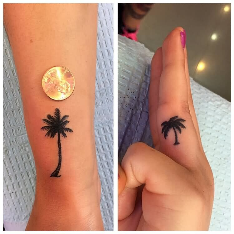 9782d7b42 Girl Showing Her Black Palm Tree Tattoo
